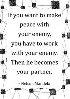 Inspirational Quote Poster [Mandela - Peace, Work, Partner