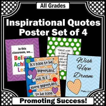 Inspirational Quotes for Kids Set of 4 Printable Posters f