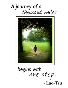 Inspirational poster: A journey of a thousand miles begins