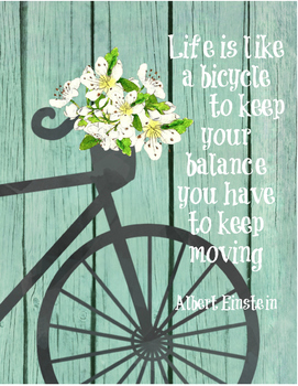 """Inspirational quote - """"Life is like a bicycle"""" Einstein -"""
