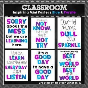 Inspiring Classroom Mini Posters: Blue and Purple
