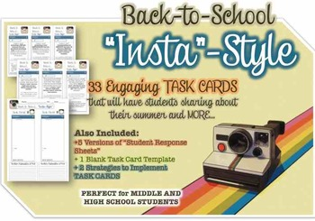 "Instagram Task Cards for ""Back to School""- 33 Cards and 5"