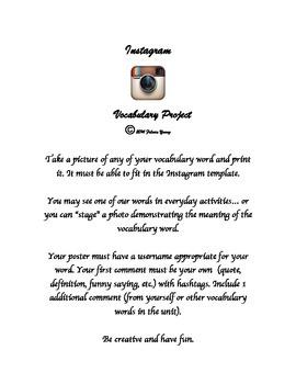 Instagram Vocabulary Project