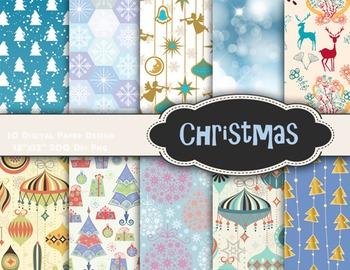 Blue Christmas Digital Paper Digital Christmas Scrapbook P