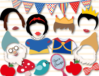 Instant Download Snow White Princess Photobooth Props, Sno