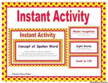 Instant Activity: Literacy Phonemic Awareness and Math Rev