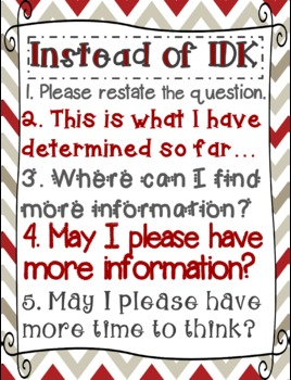 """Instead of I Don't Know (""""IDK"""") Poster"""