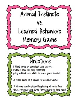 Instincts vs. Learned Behavior Memory Game