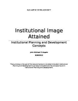 Institutional Image Attained handouts