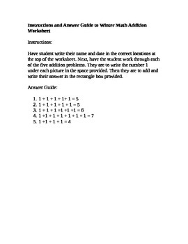 Instruction & Answer Key to Winter Theme Math: Addition Worksheet