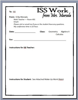 Instruction Sheet to Complete for Students in ISS