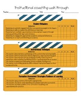 Instructional Coach Walk through forms