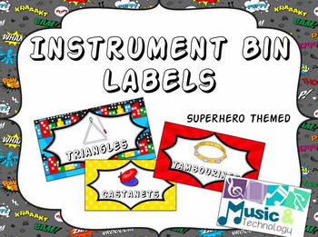 Classroom Instrument Bin Labels- Superhero Theme