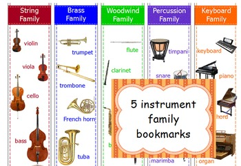 Instrument Family Bookmarks