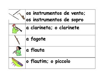 Instrumentos musicais (Musical instruments in Portuguese)