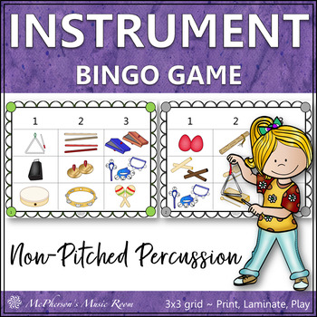 Instruments Non-Pitched Percussion {Music Bingo Game}