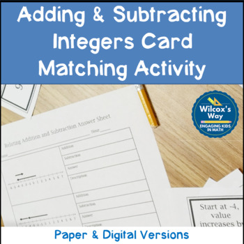 Integer Addition Subtraction Card Matching Activity