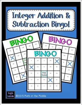 Integer Addition and Subtraction Math Bingo - Math Review Game