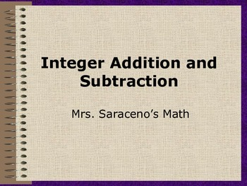 Integer Addition and Subtraction Notes