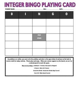 Integer Bingo