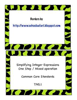 Integer Computation Task Cards