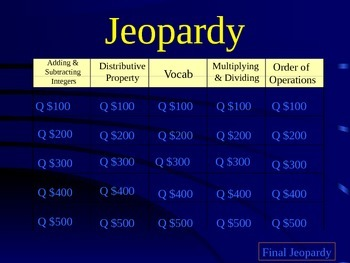 Integer Jeopardy Review Game