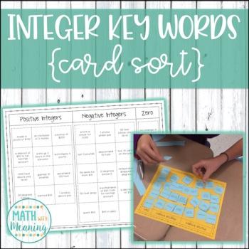 Integer Key Words Card Sort Activity - Includes Interactiv