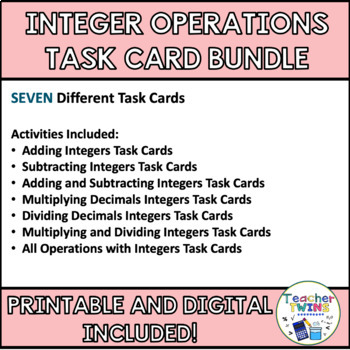 Integer Task Card Bundle CCS 7.NS.1 and 7NS.2