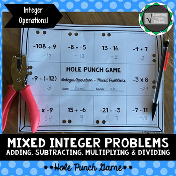 Integer (Mixed Problems) Operation Hole Punch Game 7.NS.A.2
