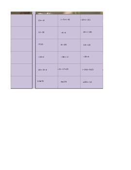 Integer Operation Excel Activity