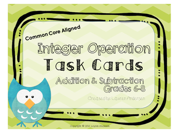 Integer Operation Task Cards for Addition and Subtraction