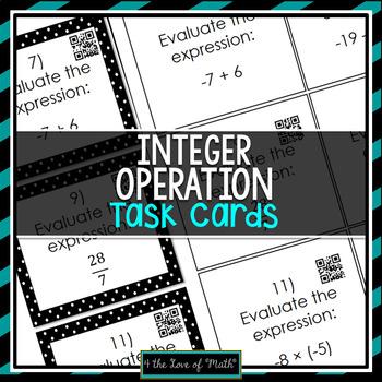 Integer Operations: 30 Task Cards