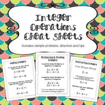 Integer Operations Cheat Sheets