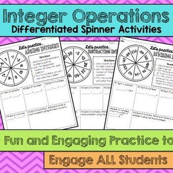Integer Operations Differentiated Spinner Activities- Fun