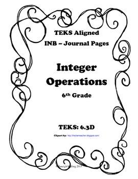 Integer Operations INB TEKS 6.3D