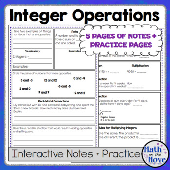 Integer Operations - Interactive Notes and Practice Pages