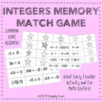 Integer Operations Memory Match Game! Great for Early fini