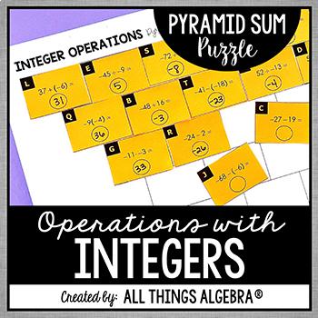 Integer Operations Pyramid Sum Puzzle