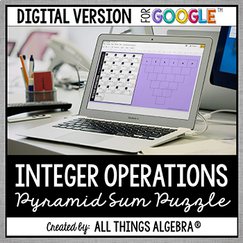 Integer Operations Pyramid Sum Puzzle - GOOGLE SLIDES VERSION