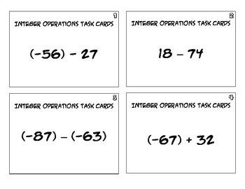 Integer Operations Task Cards
