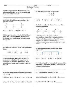 Integer Review 6th and 7th grade math