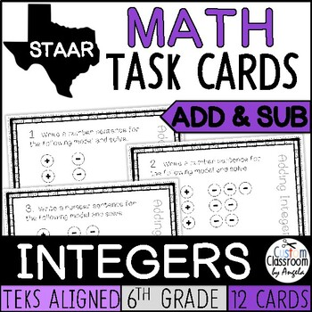 Integer Task Cards - Addition/Subtraction with Chip Models