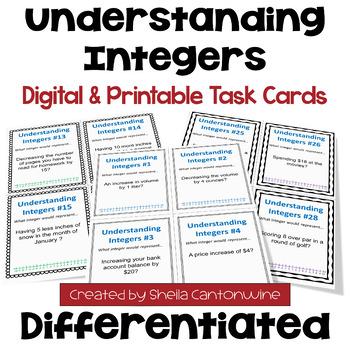 Understanding Integers Task Cards (3 Levels)