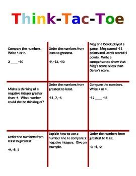 Integer Think Tac Toe