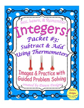 Integer Worksheet: Subtract and Add Using Thermometers