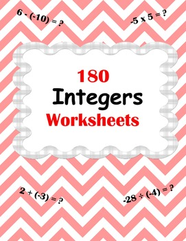 Integer Worksheets -  addition, subtraction, multiplicatio