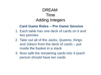 Integers Card Game