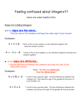 Integers Cheat Sheet