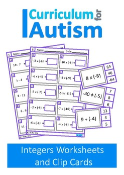 Integers Equations  Worksheets & Clip Cards, Autism Middle