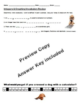 Integers & Graphing Vocabulary Review Riddle